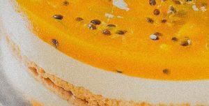 Cheesecake vegan de manga e maracujá ou de café