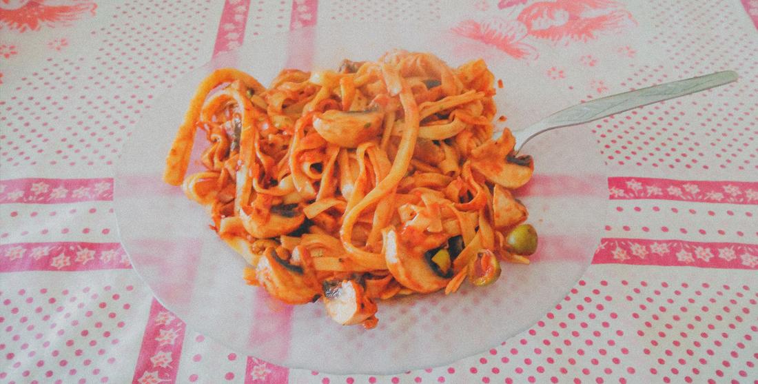 Esparguete com cogumelos