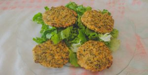 Mini hambúrgueres de grão-de-bico